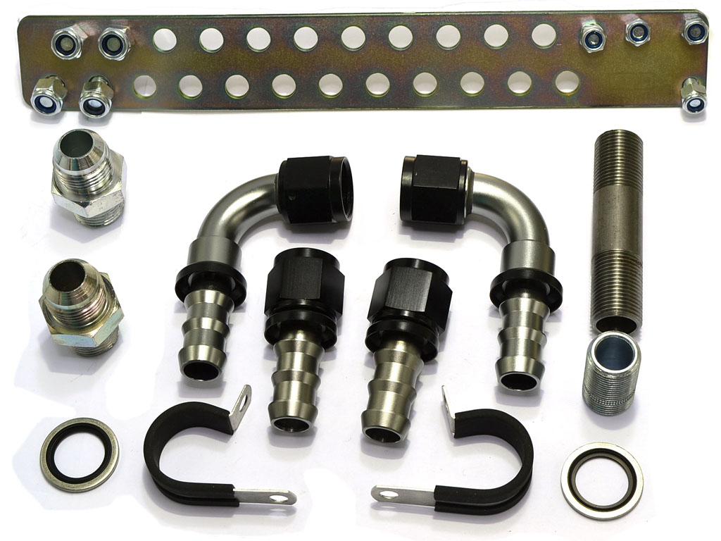 OIL COOLER KIT: 4-cyl thermo (braided nylon )